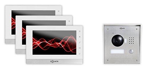 Goliath IP Video-Sprechanlage, Aufputz Türstation, Edelstahl, HD Kamera, Tablet App, Direkte Anbindung von Türschloß, Video-Speicher, 1 Familienhaus Set, AV-VTC09 -