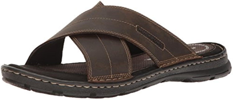 Rockport Men's Darwyn Xband Slide Sandal  Brown Leather  8.5 M US