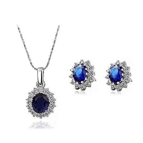 n Royal Blue Kristall Halskette und Ohrringe Modeschmuck Set, perfekte Geschenk (Österreichischen Kristall Modeschmuck)