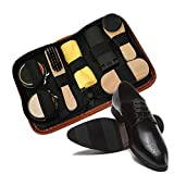 Shoe Shine Kit,AOLVO Shoe Polish Brush Kit with Portable Leather Case,Shoe Care Cleaning
