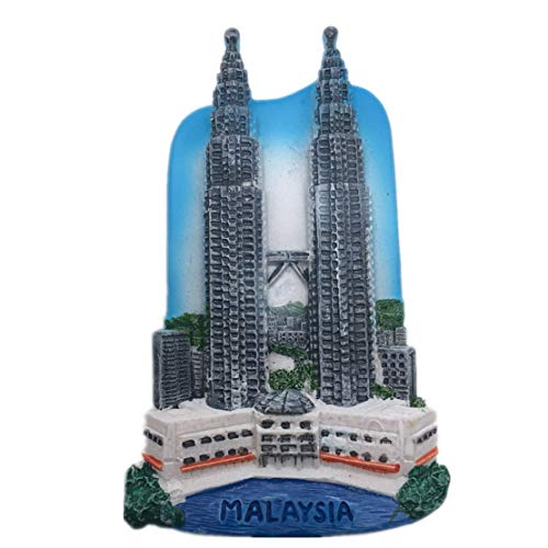 Kühlschrankmagnet Petronas Twin Towers Kuala Lumpur Malaysia Asien 3D Harz Kunsthandwerk Touristen Reise Stadt Souvenir Sammlung Brief Kühlschrank Aufkleber