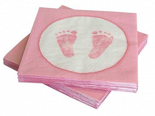 20 Servietten Babyfüße Fußabdruck Rosa Taufe Geburt Mädchen Babyparty