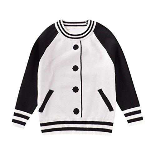 TPulling Mode Herbst Und Winter Mädchen Kinder-Baseball-Kleidung Muster mit langen Ärmeln stricken Top Shirt Jacke Dicke Outfits Blusen Pullover /Geeignet als Geschenk (Weiß, 80) (Baseball Kostüm Ideen Für Mädchen)