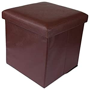 Uberlyfe Foldable Ottoman Storage Box Cum Stool - Brown (Otto-000992-Plbrw)