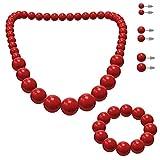 SoulCats Schmuckset, Perlenkette, Perlenarmband und 3 Paar Ohrstecker, Farbe: rot