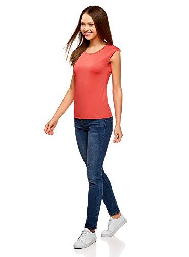 oodji Ultra Donna T-Shirt Dritta con Scollo Rotondo Rosa (4100N)