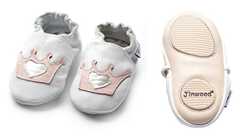 Jinwood designed by amsomo - Jungen - Maedchen - Hausschuhe - ECHT LEDER - Lederpuschen - Krabbelschuhe - soft sole / mini shoes div. Groeßen crown white mini shoes