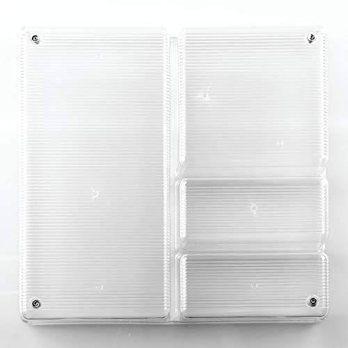 iDesign Schubladen Organizer, großer Schubladeneinsatz mit 4 Fächern aus Kunststoff, verwendbar als Besteckkasten für Schubladen, durchsichtig -