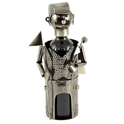 H de Line Soporte para botellas de vino jugador de golf, soporte para botellas regalo Idea para hombres & Vino, con jugador de golf de metal, tamaño: 14x 14x 26cm, Regalo para Invitados