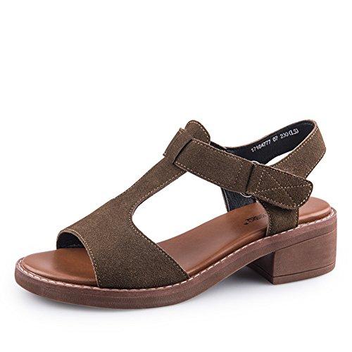 Sommer,plüsch sandalen/dame,velcro,raue fersen-B Fußlänge=23.8CM(9.4Inch) (Mule Denim Ferse)
