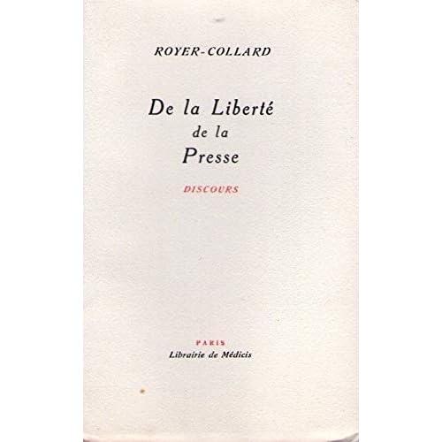 De la liberté de la presse Discours