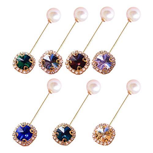shaoyanger 6 Stück/Set künstliche Edelsteine Perlen für Männer Frauen Strass Wort-Piercing Brosche Schal Schnalle