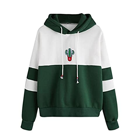 Reaso Femmes Sweat à capuche Casual Pull Manche longue Hoodie Sweatshirt Cactus Impression Hooded Pullover Tops Blouse (L, Green)