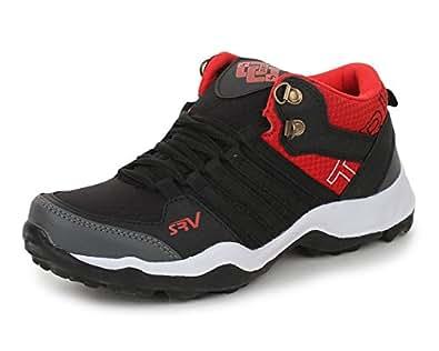 TRASE SRV Men's Mirage Black/Red Sports Running Shoe