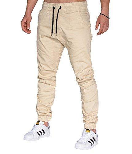 BetterStylz MasonBZ Chino Jogger Jogginghose Harem Style Jogger Slim Fit Stoffhose Gummibund 25 Farben (XS-5XL) (XXL, Beige)