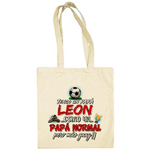Bolsa de tela tengo un papá León como un papá normal pero más guay - Beige, 38 x 42 cm