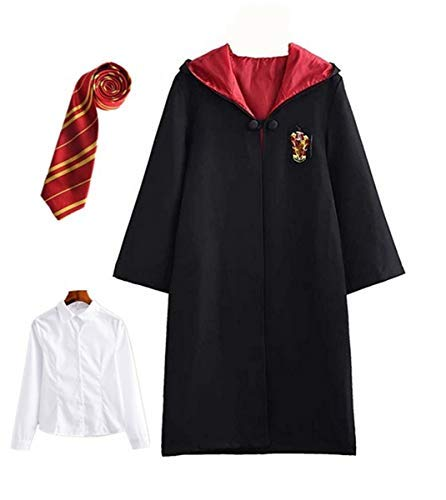Fanessy. Kinder Erwachsene Umhang Kostüm Für Harry Potter,Fancy Dress Cosplay Outfit Set Zauberstab Krawatte Schal Brille Hut Hemd Rock Karneval Verkleidung Fasching Halloween - Harry Potter Kostüm Weiblich