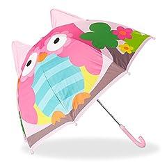Idea Regalo - Relaxdays 10022286_769 Ombrello per Bambini con Gufo 3D, Parapioggia per Bimba e Bimbo, Piccolo Bastone Ombrellino da 3 Anni