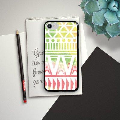 Apple iPhone X Silikon Hülle Case Schutzhülle Muster Bunt Ethno Hard Case schwarz