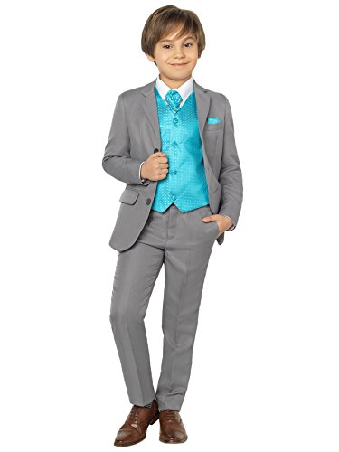 Shiny Penny Boys Grey Suit, Page boy Suits, Boys Prom Suits, 1-13 Years