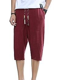 3ace333d3f Pantalones Cortos Hombre Pantalones Chinos Pantalones Anchos Bermudas Baggy  Casual Hippies Transpirable Pantalones De Lino Vino
