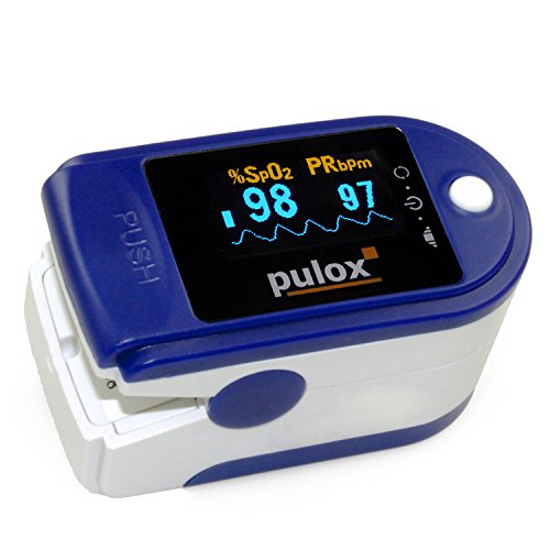 Pulsoximeter PULOX PO-200 mit OLED-Anzeige inkl. Hardcase, Schutzhülle, Nylontasche und Trageband Fingerpulsoximeter Oxymeter, Oximeter Farbauswahl möglich