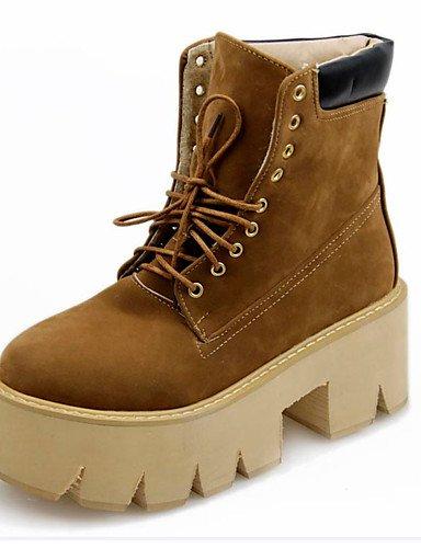 xzz/2016Neue Frühjahr und Herbst Casual High Heels Sexy High Heels Dick Plattform Pumpe schwarz und weiß Schnee Stiefel, brown-us10.5 / eu42 / uk8.5 / cn43 (Schwarze Boot Plattform Pumpe)