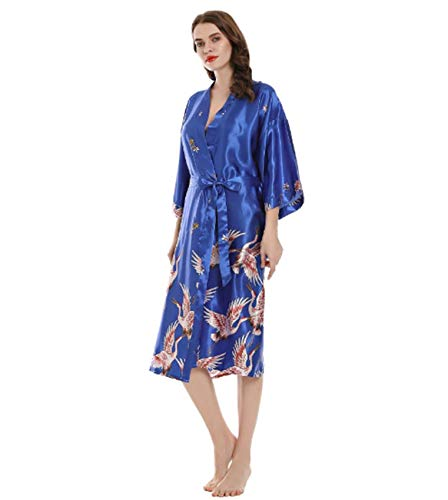 GL SUIT Largo de Las Mujeres del camisón de Las señoras de Seda del Kimono del Traje de Tiras Camisón...