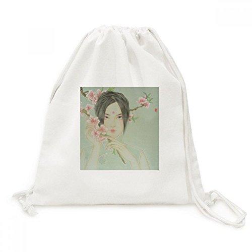 diythinker Peach Blossom Beauty chinesische Aquarell Leinwand Kordelzug Rucksack Travel Einkaufstaschen (Pfirsich Aquarell)