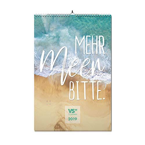 VISUAL STATEMENTS Wandkalender 2019; Kalender DIN A3; Bilder mit Sprüchen – verschiedene Bildmotive - Dekoration zum Aufhängen - Monats-Wandkalender (Mehr Meer, bitte - 2019)