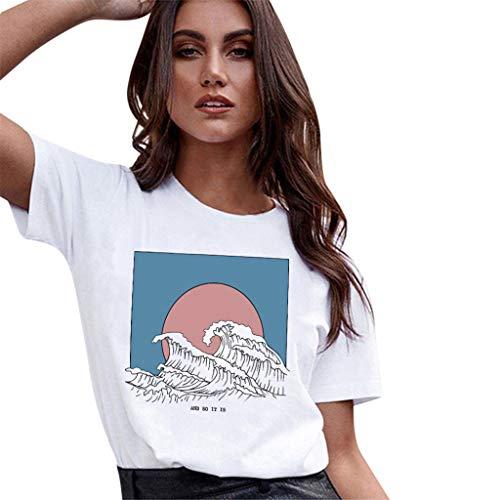 Fenverk_Damen T-Shirt Top Mit Anker Druck Rundhals Kurzarm Ladies Sommer Shirt Sailing Tee Leicht Und Luftig Sehr Angenehm Zu Tragen Kurzarmshirt Basic Tops(Weiß-c,XXL)