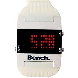 Bench Damen digitale LCD Uhr (Zeit & Datum) weißes PU-Band