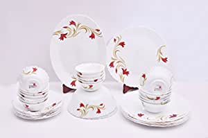 Larah Fluted Red Lily White Dinner Set (33 Pieces)