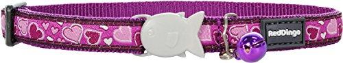 Red Dingo Breezy Love gemustertes Katzenhalsband, 12mm, für einen Halsumfang von 20-32cm, Violett -
