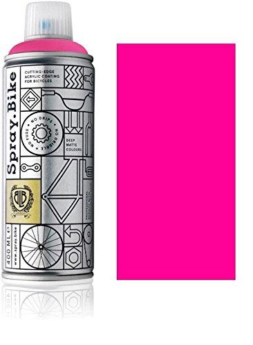 Fahrrad Lackspray in NEON Farben - KEINE GRUNDIERUNG notwendig - Acryllack / Lack Spray in 400 ml Spraydose, Matt- und Klarlack Optik möglich (Matt, Neon Pink)