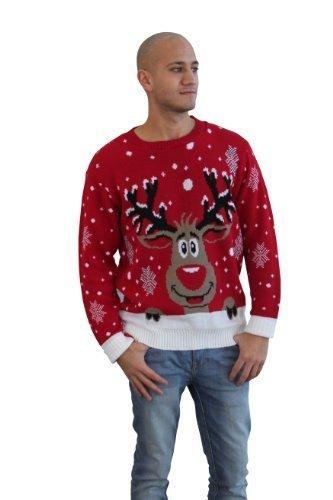CelebLook Hombre Vintage Reno De Navidad Suéter cuello redondo suéter pulóver - Rojo, X-Large