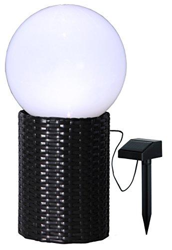 LED-Solar-Kugel mit Sockel in Rattanoptik, Farbe: weiss / schwarz, ca. 25 x 47 cm, 1 warm white LED, mit Solarpanel, incl. Akku, Outdoor