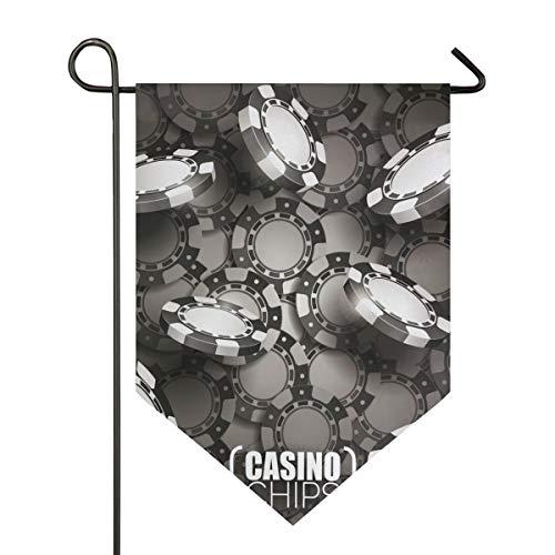 DEZIRO Garten-Flagge Casino Chips dunkel vertikal doppelseitig Yard Decor Bunte Design für alle Jahreszeiten & Feiertage, Polyester, 1, 28x40in