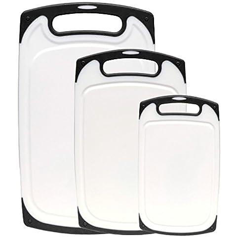 3-teilig Nonslip Schneidebrett Set Kunststoff, Spülmaschinenfest Küchenbrett Rutschfest Hygienisch, Anti-Rutsch-Schneidebretter