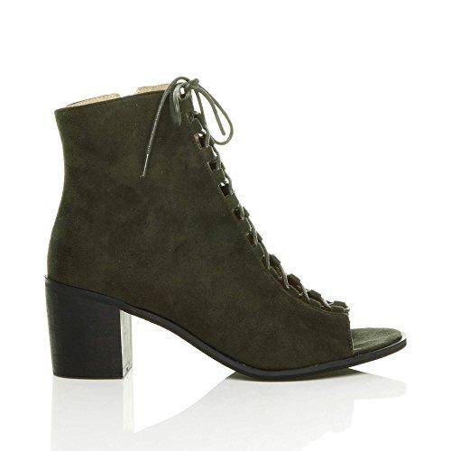 Donna blocchetto tacco medio aperte a punta stringhe sandali stivaletti numero Cachi Scamosciata