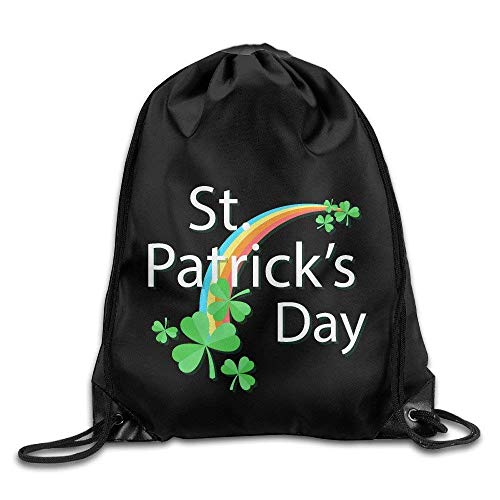shuangshao liu Lucky 4-Leaf Clover St. Patrick's Day Drawstring Tasches Cute Backpack Shoulder Tasches Gym Sport Pack
