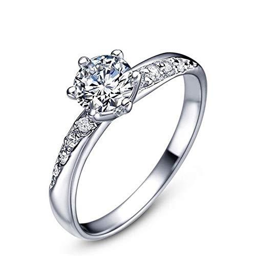 Souarts Ring Damen Schmuck Silber Farbe Edelstahl mit Strass Geschenk für Frauen