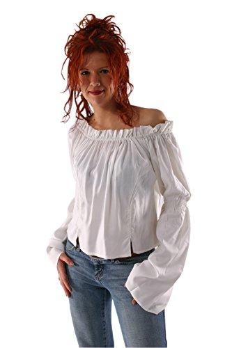 an Pirate Renaissance-Mädchen Mittelalterliches Kostüm-Mädchen Weiße Bluse Top (weiß, X-Large) ()