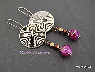 Longues boucles d'oreille style ethnique, bohême chic, crochets acier inox tons violet, marron et doré, idée cadeau femme