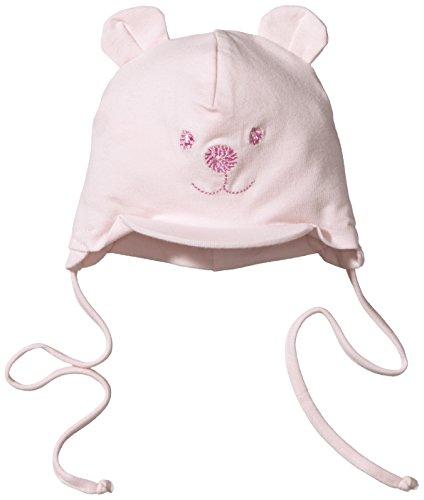 tze für Mädchen mit Bindebändern, Nackenschutz und niedlichem Bärchen-Motiv, Alter: 12-18 Monate, Größe: 49, Rosa (Winter Mützen Für Kinder)