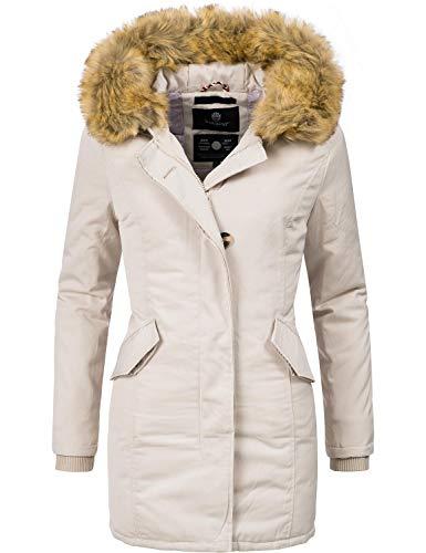 Marikoo Damen Winter Mantel Winterparka Karmaa Creme Off White Gr. S Winter Kapuze Jacke