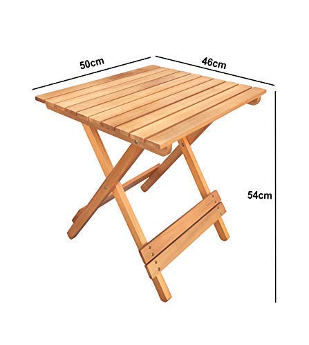Havnyt Folding Teak Side Table Square Outdoor Garden Furniture 50 x 46cm