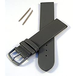 Grey 24mm Flat Leather Watch Strap without Stitching