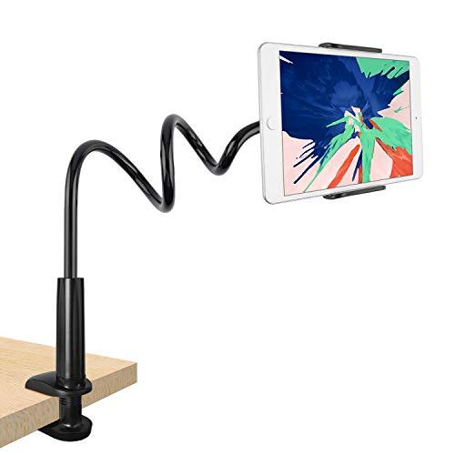 Tryone Schwanenhals Tablet Halterung, Tablet Halter - Flexibler Verstellbarer Arm im Bett für Ipad/Handy/Switch/Samsung Galaxy Tabs/Kindle Fire HD usw, 76cm Gesamtlänge (Schwarz)