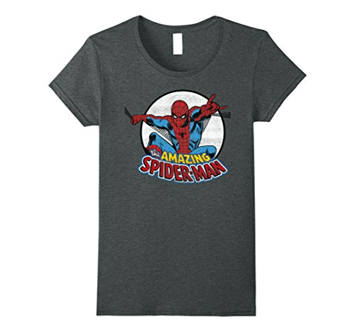 Womens Amazing Spider-Man Retro Vintage Grafik T-Shirt gro?e dunkle - Shirt Vintage Spiderman